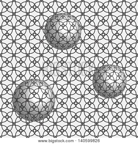 Abstract 3d effect background with spheres. Optical illusion.
