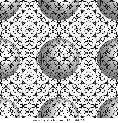 Vector seamless sphere pattern with 3d optical illusion.