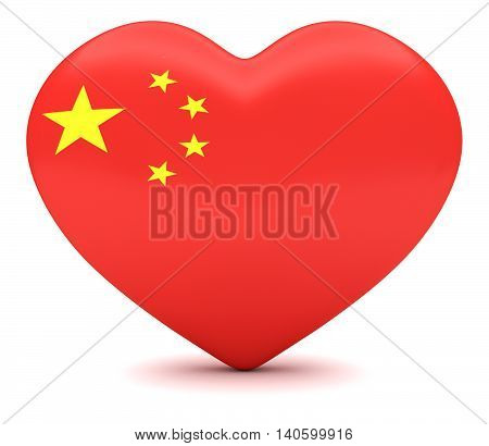 Love China: Chinese Flag Heart 3d illustration
