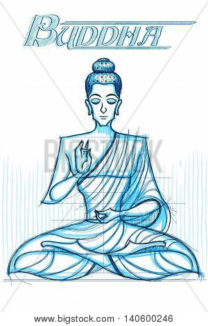 Indian God Buddha in sketchy look. Vector illustration