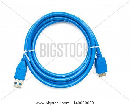 Blue cable usb 3 to micro usb 3 isolated on white