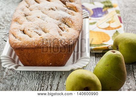 Pie Fruitcake With Pears And Powdered Sugar