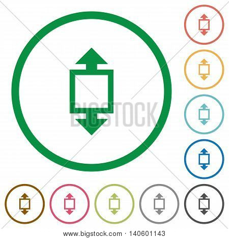 Set of Height tool color round outlined flat icons on white background