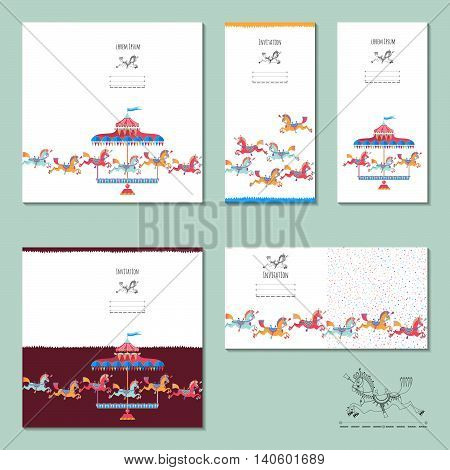 5 invitation cards with vintage carousel horse. Birthday anniversary children's party. Vector illustration