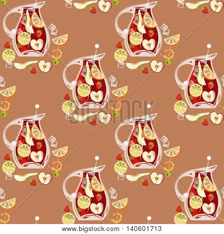 Traditional spanish drink. Sangria. Seamless background pattern. Vector illustration