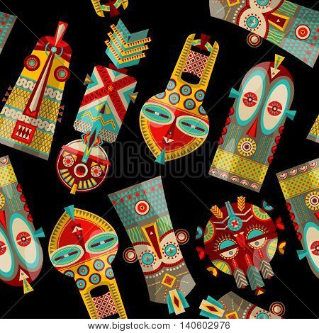 African masks of diferent shapes. Seamless background pattern. Vector illustration