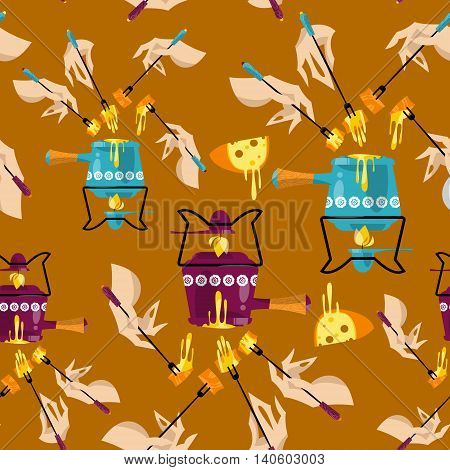 Cheese fondue. Traditional swiss food. Seamless background pattern. Vector illustration