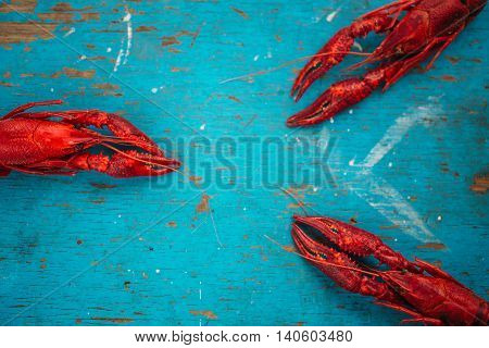 crayfish on a blue wooden background. sea food