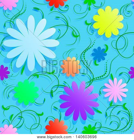 Abstract seamless background with volume flowers swirls and shadow. Can be used for wall paper web texture textile decoupage.