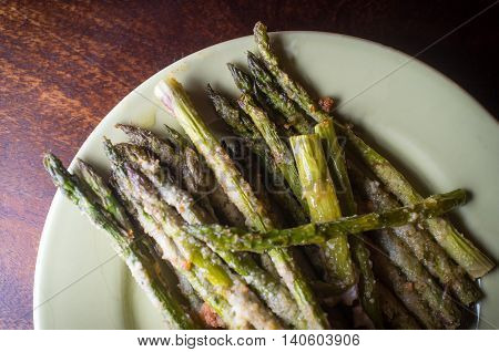 Rustic home made grilled asparagus with crispy bread crumbs
