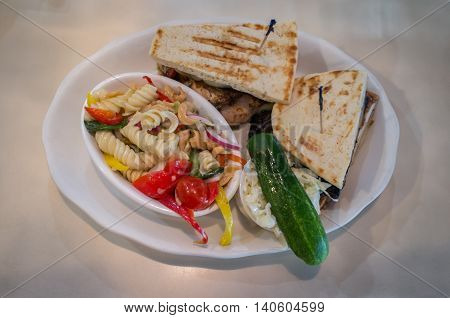 Grilled mushroom chicken panini with pasta salad cole slaw and pickle