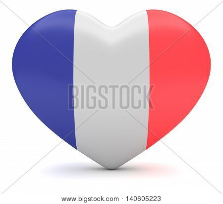 Love France: French Flag Tricolor Heart 3d illustration