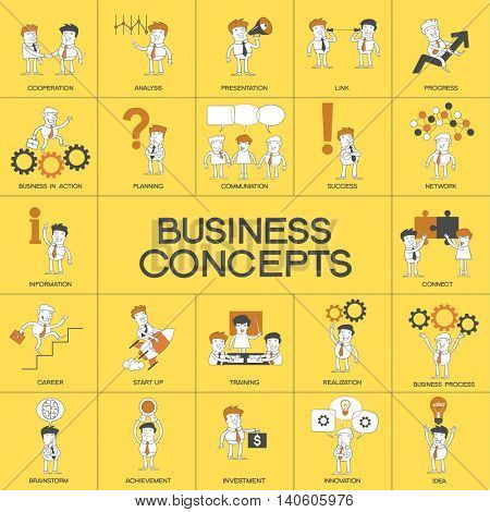 Set business process. Set of cartoon business people in different situations. Twenty-five story in one picture