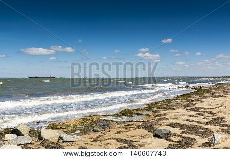 The coast of the Black sea with cargo ships on the horizon. Stock photo