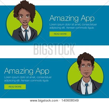 Vector template banner for website header, advertisement. Cartoon characters with quote bubble. Set banner background for website. Website header promotion banner.
