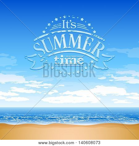 Sea coast background with text composition - summer time