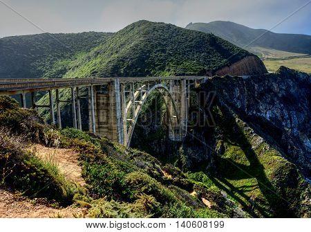 Bridge highway 1 Hazy day pacific ocean Big Sur California