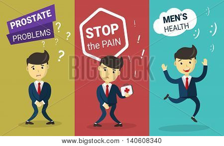 Prostate problem. Incontinence concept. Stop Cancer. Cartoon Man wants to pee and is holding his bladder. Infographic Men's health, medicine, cure, treatment. Flat design vector illustration.
