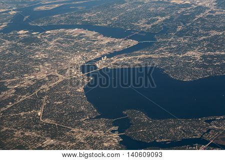 Aerial View of Jacksonville in central Florida