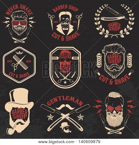 Set of Barber shop emblems. Design elements for logo label emblem sign badge brand mark. Vector illustration.