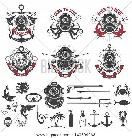Born to dive. Set of vintage diver helmets diver label templates and design elements. Design elements for logo label emblem sign badge brand mark. Vector illustration.