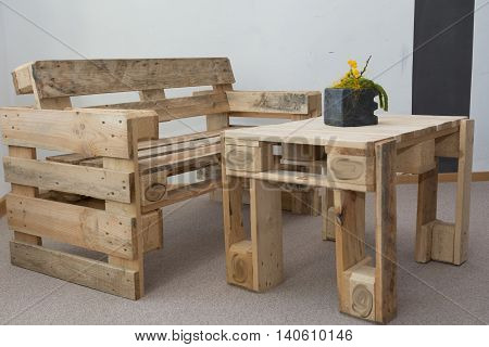 creative upcycling bench and table wooden pallets