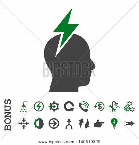 Headache vector bicolor icon. Image style is a flat iconic symbol, green and gray colors, white background.