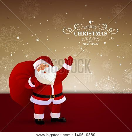 Vector Illustration of a Decorative Christmas Background with Santa Claus