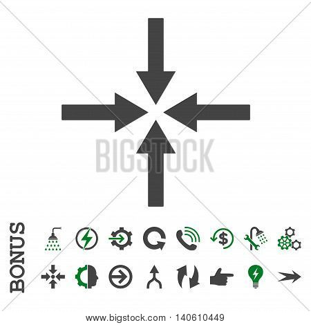 Impact Arrows vector bicolor icon. Image style is a flat pictogram symbol, green and gray colors, white background.