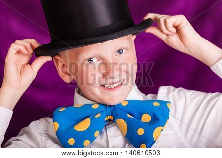 Adorable Little Boy In A Top Hat