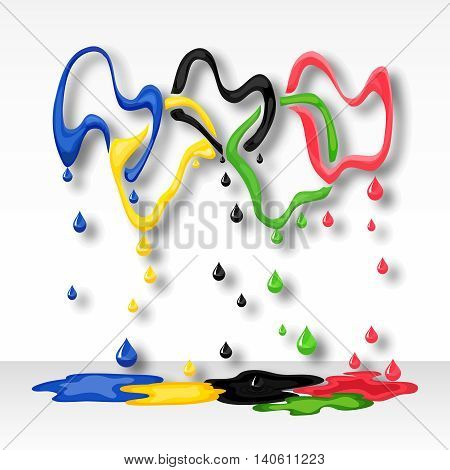 Mistake, waste and loss symbols of sports games . Five broken colored rings vector illustration.