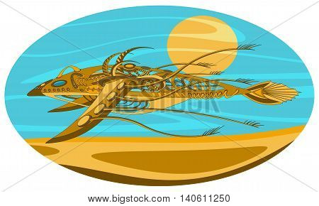 Fantastic flying and floating mechanism with wings resembling a fish or a bird. Futuristic or steampunk tattoo design. Isolated vector collapsible composition.