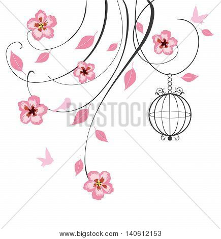 vector illustration of floral swirls with cherry flowers and bird cage