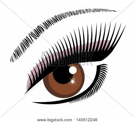 vector illustration of an eye brown with long lashes