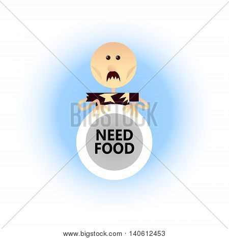 Сoncept of the global economic problem such as hunger. Flat style vector illustration. A man holding an empty plate in his hands.