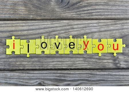 Puzzle pieces with word i love you