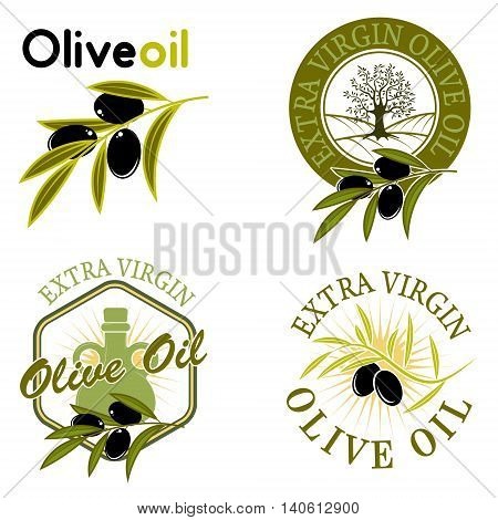 Extra virgin olive oil labels. Design element for label emblem brand mark sign. Vector illustration.