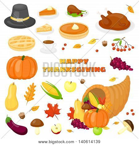 Cartoon items for Thanksgiving day celebration isolated on white background.