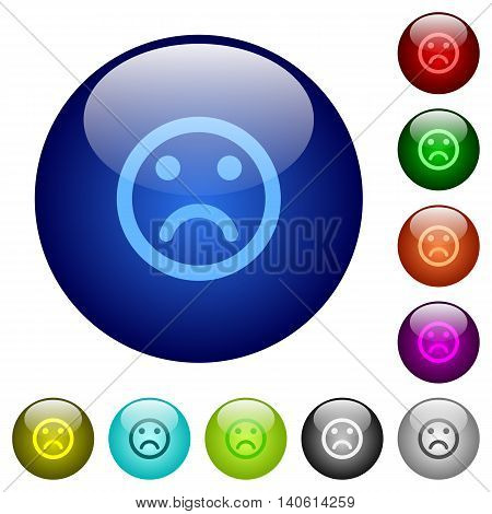 Set of color sad emoticon glass web buttons.