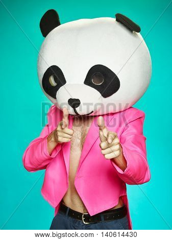 The Guy In Pink Tailcoat With Panda Head.