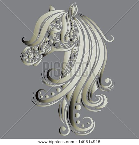 Ornamental decorative horse with a beautiful  vintage curly mane. Vector illustration with shadow and highlights.
