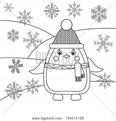 Coloring page with penguin in hat and scarf and snowflakes. Educational game activity for kids. Animals winter theme