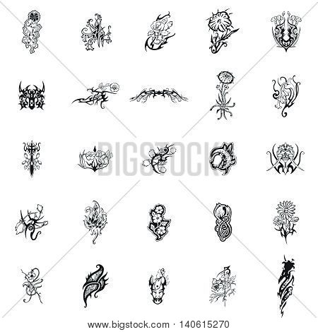 Flowers Vector Clipart includes 25  beautiful images of flowers. Intricate curves of the petals and leaves, an amazing diversity of forms, elegant and dainty lines.