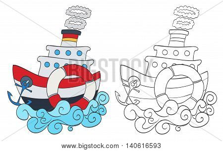 hand drawn cartoon steamship with coloring page version. vector illustration