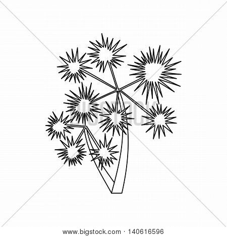 Prickly palm icon in outline style isolated on white background. Trees symbol