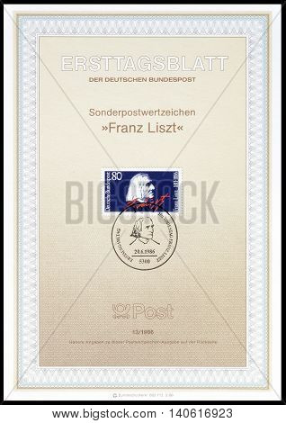 GERMANY - CIRCA 1986 : Cancelled First Day Sheet printed by Germany, that shows Franz List.