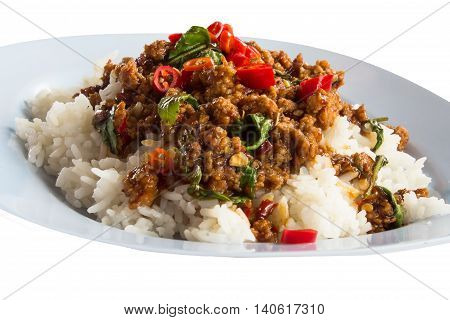 Rice topped with stir fried minced pork and basil delicious
