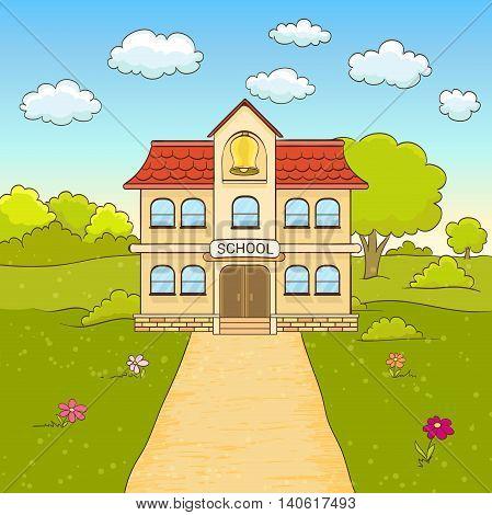 cartoon drawing of elementary school building facade with road. vector
