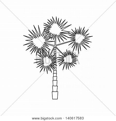 Spiny tropical palm tree icon in outline style isolated on white background. Flora symbol