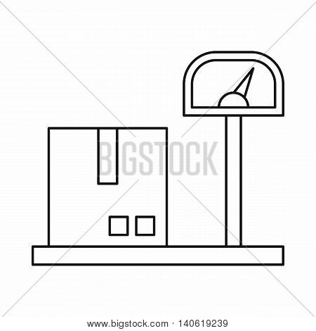 Scales for cargo icon in outline style isolated on white background. Weighing symbol